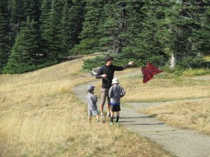 trying out kites on Hurrican Ridge