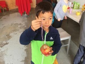 making an apple bird feeder