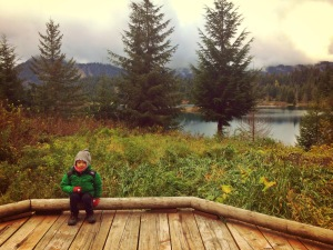 stopping near the lake at Gold Creek Pond