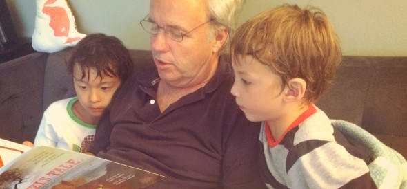 reading Chizi's tale with grandpa