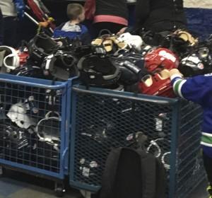 helmets in a bin