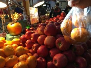 buying fruit at granville island