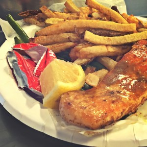 Grilled Salmon special at Jack's Fish Spot in Pike Place Market