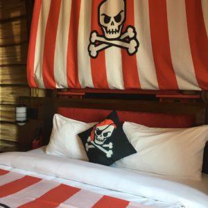 Pirate themed room in Legoland hotel in California