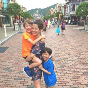 Hong Kong Disneyland with kids on a rainy day