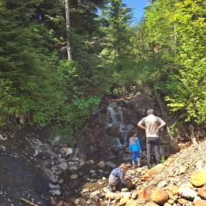 Looking for frogs in the creek in Snoqualmie pass