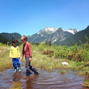 Rainboots are perfect for short kids hikes in Snoqualmie Pass near Seattle