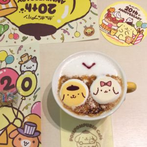 Super cute hot chocolate at Pom Pom Purin cafe