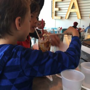 Eating at Shake Shake Shake in Tacoma with kids