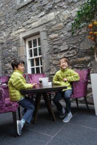 Drinking tea at Edinburgh castle