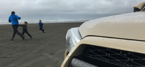 Quicksand Toyota 4runner TRDPro on the beach on the Washington Coast