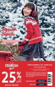 Osh Kosh coupon good until Dec 31 2016