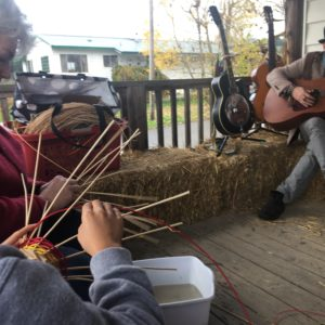 Basket weaving and music at Jubilee farm