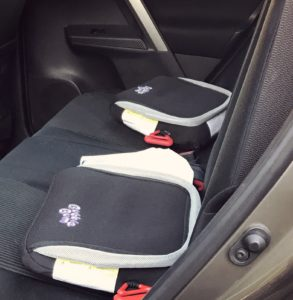 Lots of space in the backseat with Bubble Bum booster seat