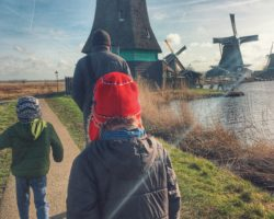 Zaanse Schans windmills near Amsterdam with kids