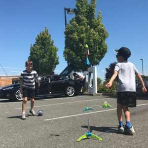 Charging with kids at the Burlington Supercharger